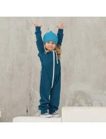 Комбинезон из футера с начёсом на молнии детский с вшитым капюшоном, Темно-бирюзовый (БАМБИНИЗОН / Bambinizon)