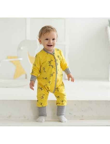 Пижама на кнопках детская, Жирафы (БАМБИНИЗОН / Bambinizon)