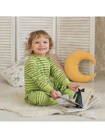 Пижама на кнопках детская, Зеленая полосочка (БАМБИНИЗОН / Bambinizon)