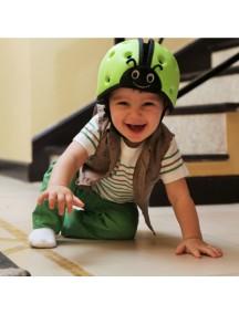 Мягкая шапка-шлем для защиты головы ТМ SafeheadBABY Божья коровка. Зеленая