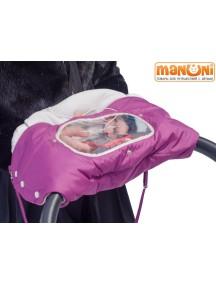 Муфтафон - Муфта для рук на коляску или санки с прозрачным окошком для гаджетов, Георгин (Манюни)