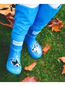 Высокие резиновые сапоги на хлопке МайПаддлБутс от КидОРКА (MyPuddle Boots  KidORCA). Цвет Голубой