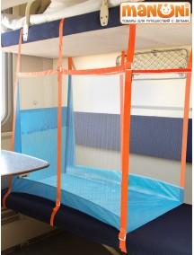 """ЖД-манеж """"Трапеция"""" в поезд для детей Manuni от 3 лет удлиненный (3 стенки + шторка), голубой"""
