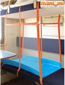"""ЖД-манеж """"Трапеция/1"""" в поезд для детей Manuni от 5 лет удлиненный (2 стенки + шторка), голубой"""