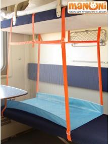 """ЖД-манеж """"Трапеция/2 + шторка"""" в поезд для детей Manuni от 5 лет удлиненный (2 стенки), голубой М-005/2+ (Г)"""
