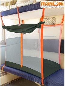 ЖД-манеж в поезд для детей Manuni от 3 лет хаки с белой сеткой (3 стенки +шторка)