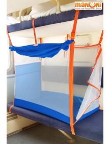 ЖД-манеж в поезд для детей Manuni от 0 до 3 лет василек с белой сеткой  (4 стенки + шторка)