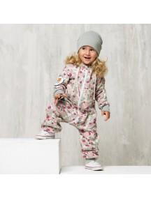 Комбинезон из футера на молнии детский с раздельным капюшоном, Милитари Розовый (БАМБИНИЗОН / Bambinizon)