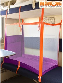 """ЖД-манеж """"Трапеция"""" в поезд для детей Manuni от 0 до 3 лет удлиненный (4 стенки + шторка), фиолетовый"""