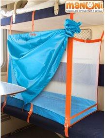 """ЖД-манеж """"Трапеция"""" в поезд для детей Manuni от 0 до 3 лет удлиненный (4 стенки + шторка), голубой М-003 (Г)"""