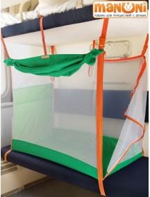 ЖД-манеж в поезд для детей Manuni от 0 до 3 лет изумруд с белой сеткой (4 стенки + шторка)