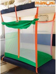 ЖД-манеж в поезд для детей Manuni от 3 лет изумруд с белой сеткой (3 стенки +шторка)
