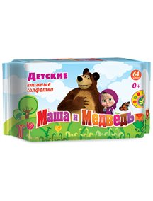 Влажные салфетки Маша и медведь детские 64шт.