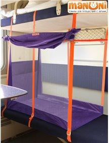 """ЖД-манеж """"Трапеция"""" в поезд для детей Manuni от 3 лет удлиненный (3 стенки + шторка),фиолетовый"""