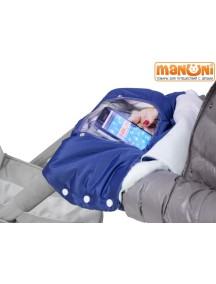 Муфтафон - Муфта для рук на коляску или санки с прозрачным окошком для гаджетов, Джинс (Манюни)