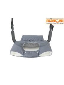 Муфтафон - Муфта для рук на коляску или санки с прозрачным окошком для гаджетов, Серый/ЗИМА (Манюни)