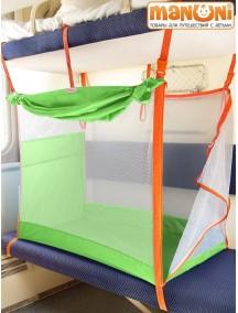 ЖД-манеж в поезд для детей Manuni от 0 до 3 лет зеленый с белой сеткой (4 стенки + шторка)