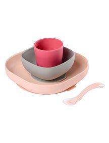 "Beaba / ""SILICONE MEAL SET"" / Набор посуды - 2 тарелки, стакан, ложка 913429 / Pink"