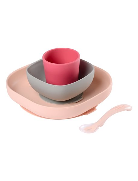 "Beaba / ""SILICONE MEAL SET"" / Набор посуды - 2 тарелки, стакан, ложка 913429 / Pink"