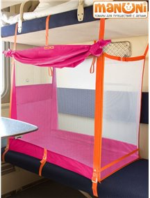 """ЖД-манеж """"Трапеция"""" в поезд для детей Manuni от 0 до 3 лет удлиненный (4 стенки + шторка), розовый М-003 (Р)"""