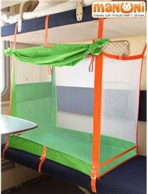 """ЖД-манеж """"Трапеция"""" в поезд для детей Manuni от 0 до 3 лет удлиненный (4 стенки + шторка),зеленый М-003 (З)"""
