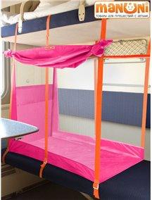 """ЖД-манеж """"Трапеция"""" в поезд для детей Manuni от 3 лет удлиненный (3 стенки + шторка), розовый"""