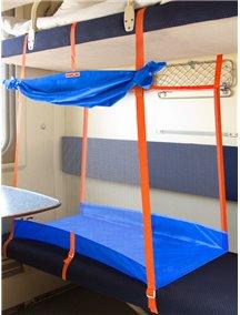"""ЖД-манеж """"Трапеция/2 + шторка"""" в поезд для детей Manuni от 5 лет удлиненный (2 стенки), василек М-005/2+ (В)"""