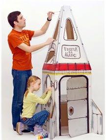 """Домик из картона """"Ракета на Марс""""  / Картонный папа,  белый, размер 1.8м х 0,55м х 0,55м"""