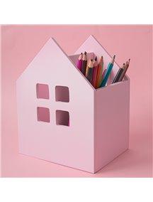 Карандашница из дерева в виде домика розовая
