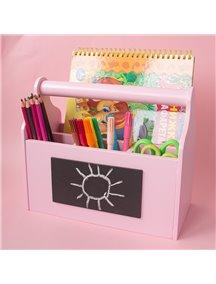 Карандашница из дерева с ручкой и меловой вставкой розовая
