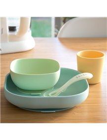 "Набор посуды - 2 тарелки, стакан, ложка Beaba ""SILICONE MEAL SET"", 913436 / Yellow"