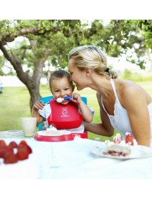 BabyBjorn Нагрудник мягкий пластиковый для кормления ребенка, красный