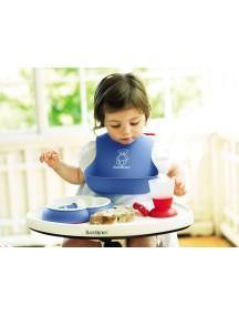 Нагрудник мягкий пластиковый для кормления ребенка, BabyBjorn. Синий