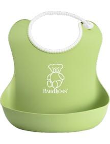 BabyBjorn Нагрудник мягкий пластиковый для кормления ребенка, зеленый