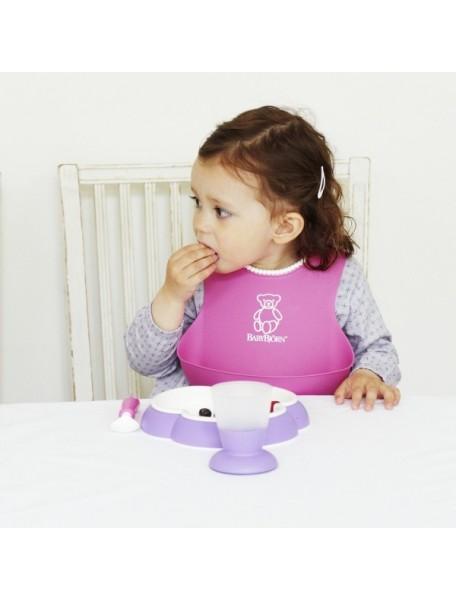 Нагрудник мягкий пластиковый для кормления ребенка, BabyBjorn. Красный