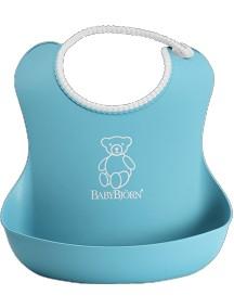 BabyBjorn Нагрудник мягкий пластиковый для кормления ребенка, бирюзовый