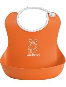BabyBjorn Нагрудник мягкий пластиковый для кормления ребенка, оранжевый