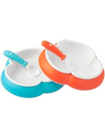 BabyBjorn Комплект тарелок с 2-мя ложками, Оранжевый - Бирюзовый